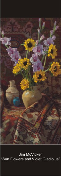 "Jim McVicker - ""Sun Flowers and Violet Galdiolus"""